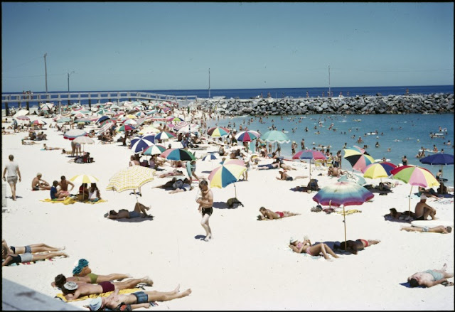 cottesloe beach, western australia, beach, people, 1972