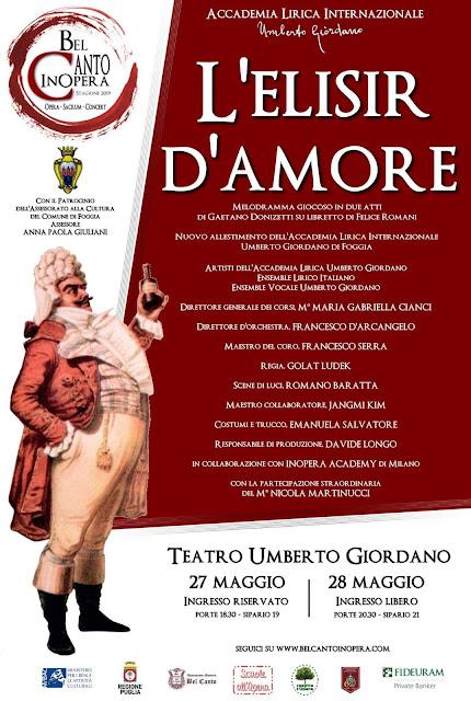 """Foggia.  """"L'ELISIR D'AMORE"""", Romano Baratta  e light that tells il melodramma di Donizetti"""