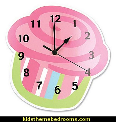 Wall Clock, Cupcake  cupcakes bedroom ideas - cupcakes theme candy decorating candyland sweets - cupcake bedding - cupcake decor - candy decor -  Ice Cream decor - cupcakes and candy bedroom ideas - candy theme bedroom - cupcakes and candy decor - Candy party props - Candy party decorations - candyland gingerbread decorations