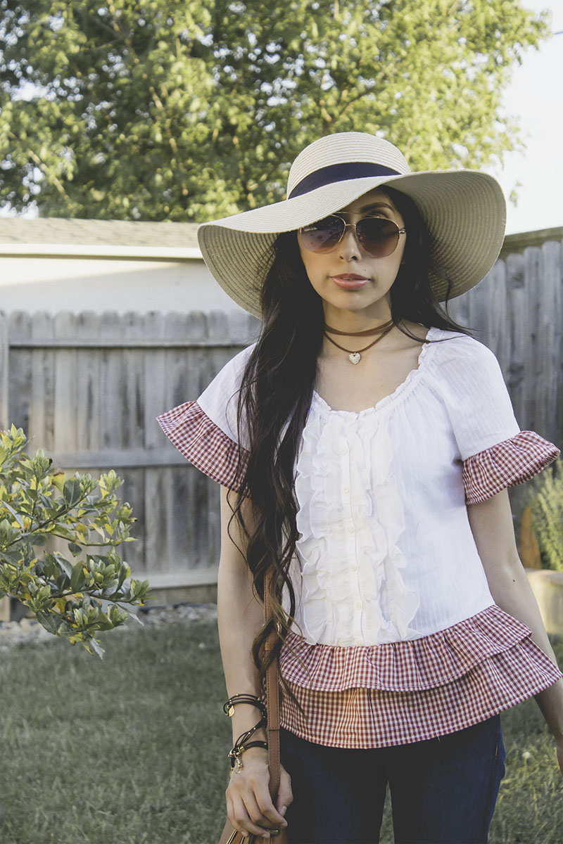 ruffle top blouse refashion upcycle gingham sunglasses floppy hat