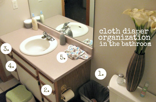 bath room prefolds + covers organization