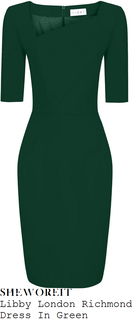 holly-willoughby-libby-london-richmond-dark-forest-green-half-sleeve-asymmetric-neckline-high-waisted-tailored-knee-length-pencil-dress