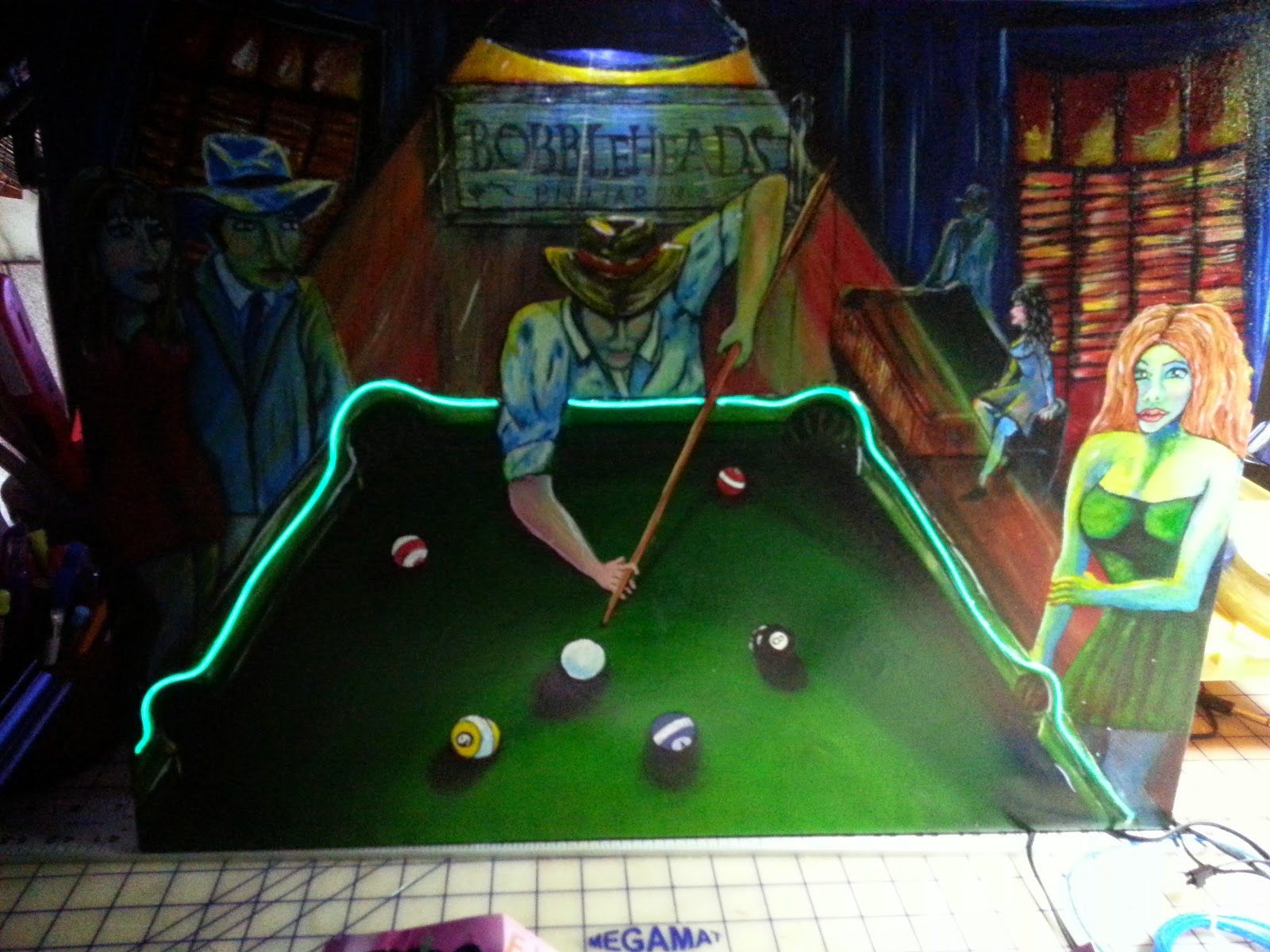 Oh no that did not happen pool hall billiards painting with el i call it bobbleheads billiards cuz for some reason the heads on the people kept gettin bigger and bigger so i just went with it here are a few pics greentooth Gallery