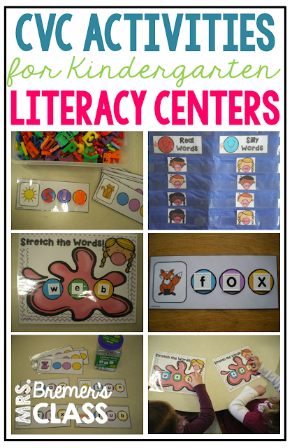 Word work activities for CVC, CVCC, and CCVC words in Kindergarten and First Grade- perfect as literacy centers!
