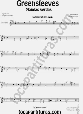 Greensleeves Partitura de Clarinete Mangas Verdes o ¿Qué niño es este? Sheet Music for Clarinet Music Score Carol Song What child is this?