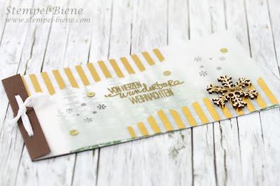 Heftkarte mit Anleitung; Buchkarte Anleitung; Weihnachtskarte mit Wonderland; Stampinup Wonderland; Stampinup Sonderangebote; Stempel-Biene; Scrapbookideen