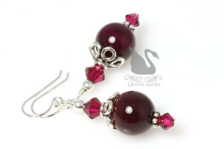 July Birthstone: Crystal Ruby Gemstone Beaded Earrings (EBC106)