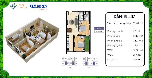 Căn 04 - 07 chung cư ICID Complex