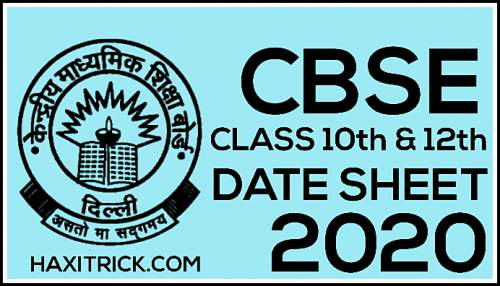 Cbse Board Exam Date Sheet 2020 Class 10th 12th Pdf Download