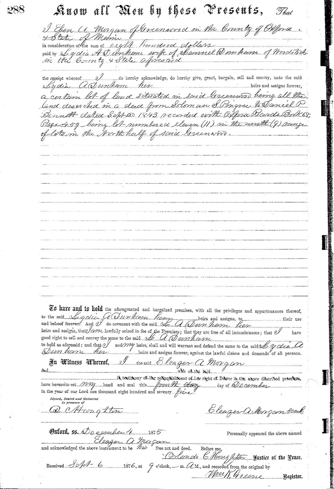 old deed Eben A. Morgan to  Lydia A. Dunham - Eleazer A. MorganEleazer Austin Morgan - Maine 1853 - 1918