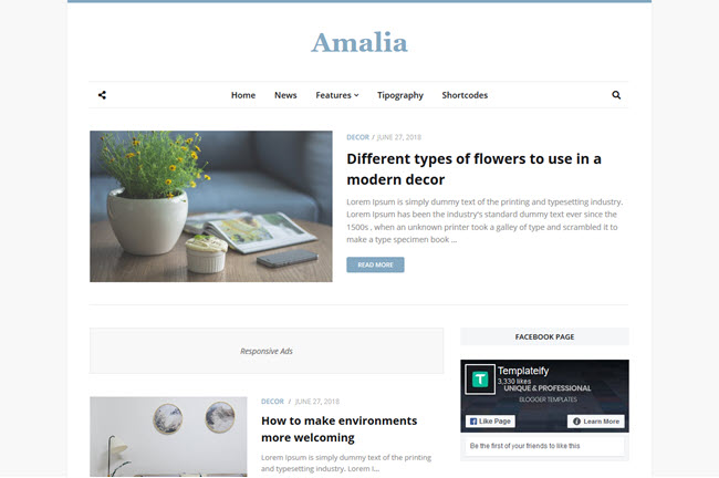 [Free Download] Amalia Blogger Template
