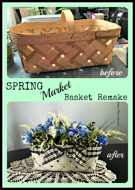 a plain market basket painted to look vintage then filled with beautiful faux flowers