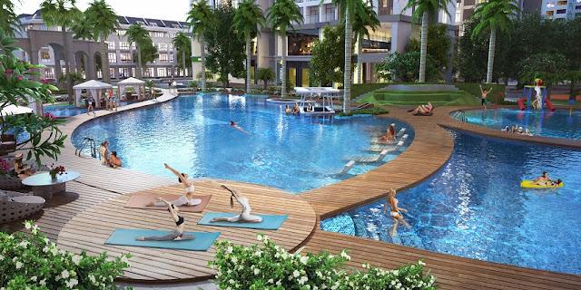 Tập thể dục buổi sáng ở bể bơi ngoài trời Vinhomes Gardenia