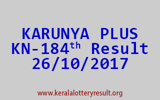 KARUNYA PLUS Lottery KN 184 Results 26-10-2017