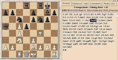 Partida de ajedrez Farago-Zwaig en 1965, posición después de 11.Tad8