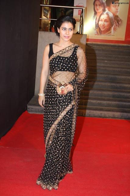 Actress Kajol In Black Transparent Saree Photos  Actress -6714