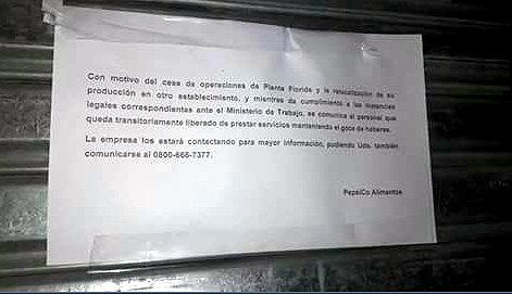 Pepsico cerró su planta de Vicente López y los trabajadores denuncian 600 despidos