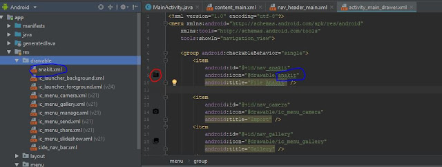 menganti icon menu pada navigation drawer pada android studio