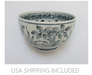 Japanese Sometsuke Bowl Hand Painted Blue and White Porcelain