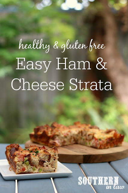 Easy Healthy Ham and Cheese Strata Recipe - gluten free, healthy, low fat, high protein, christmas leftovers, easter leftovers, clean eating recipe