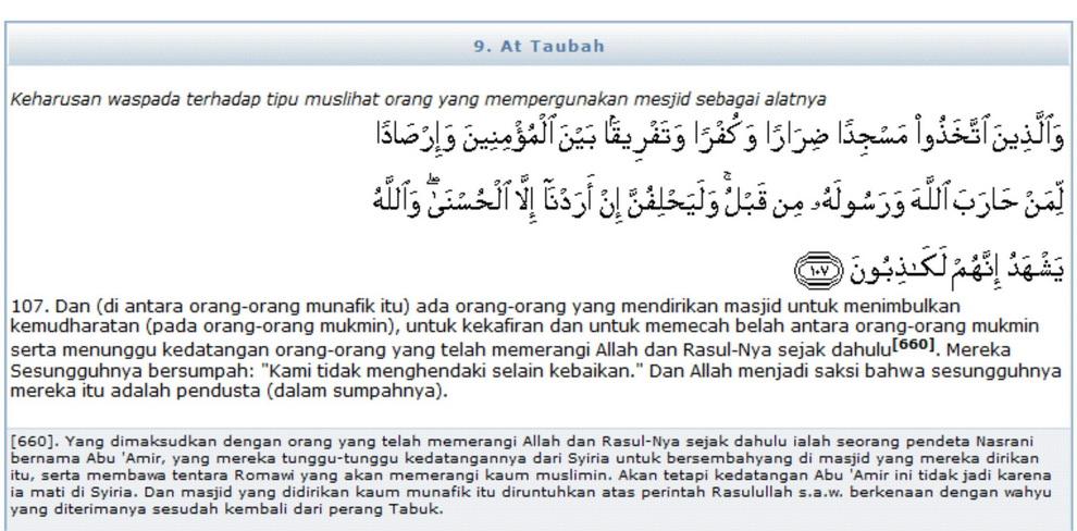 Surat Attaubah Ayat 107 Serta Asbab Dan Tafsir Depag Ri