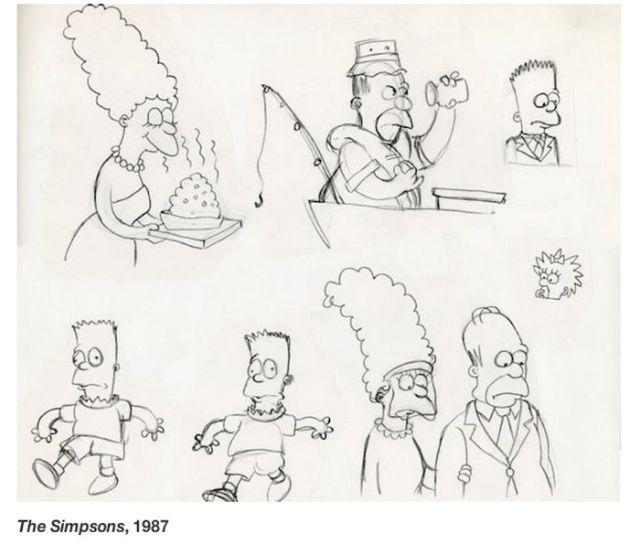 Primeiros esboços dos personagens dos desenhos animados famosos