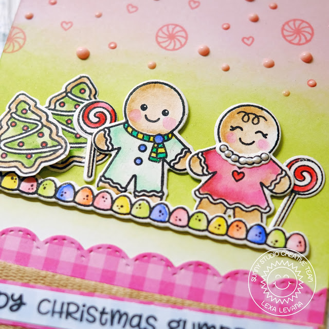 Sunny Studio Stamps: Jolly Gingerbread Pink And Green Gingerbread Couple Christmas Card by Lexa Levana