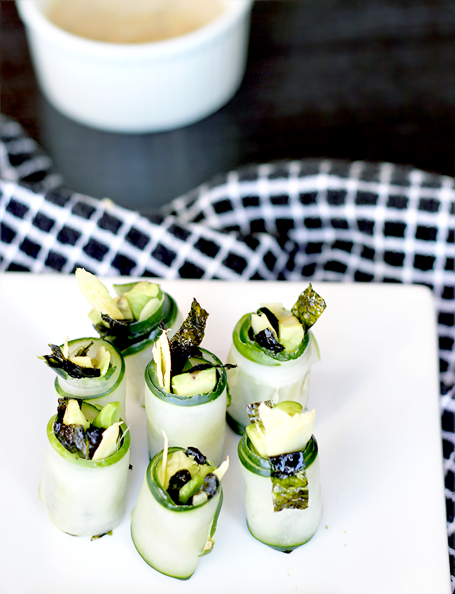 Cucumber Roll-Ups with Nori, Avocado, and Ginger