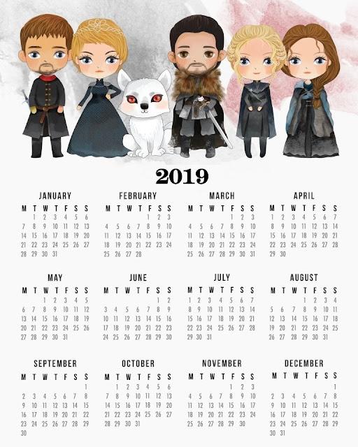 Calendario 2019 de Juego de Tronos para Imprimir Gratis.