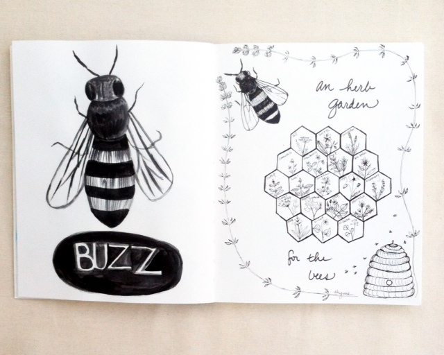 2x2, #2x2Sketchbook, Dana Barbieri, Anne Butera, Sketchbooks, b&w, bees, herbs