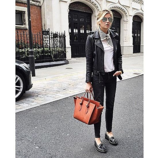 neck scarf black leather jacket black jeans white tee casual street style