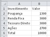 Investimento, poupança, renda fixa, tesouro direto e ações no Excel