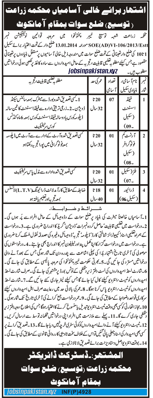 Advertisement for Agriculture Department KPK Jobs