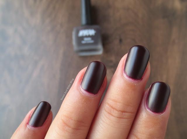 Nykaa Black Cherry Pie Matte Dark Plum Nail Polish Swatch