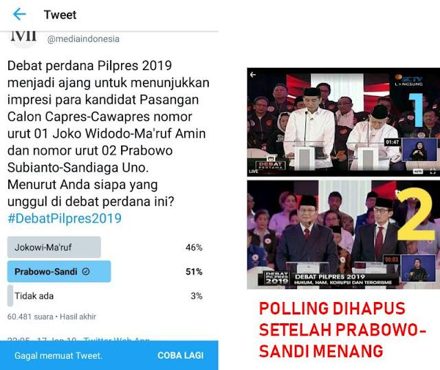 Prabowo-Sandi Menang, Media Indonesia Hapus Polling