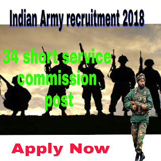 Indian army recruitment 2018 for 34 short service commission posts