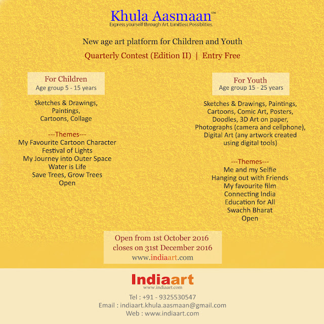 Khula Aasmaan - Announcement for the first quarterly contest ending 31st December 2016 (www.indiaart.com)