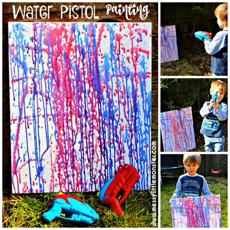 Water Pistol painting - Easy Outdoor Art Ideas for Kids - large scale, messy, nature inspired art activities for toddlers, preschoolers and school aged kids to do outside.