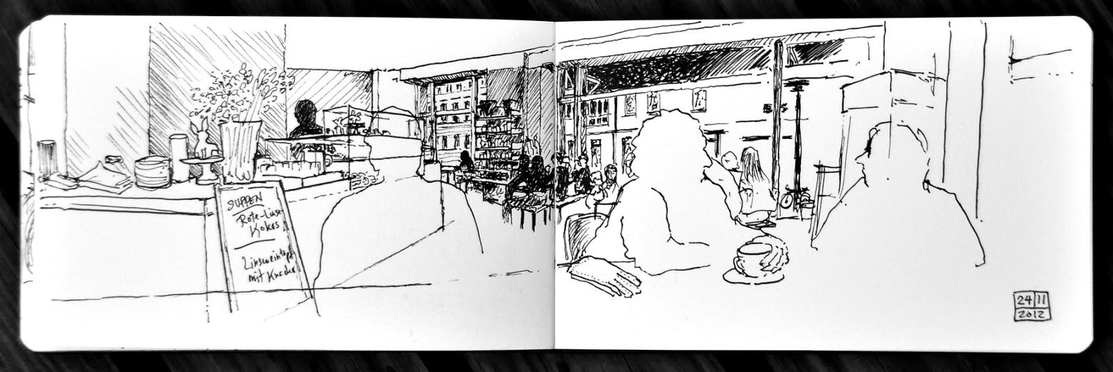 two cafe sketches. Black Bedroom Furniture Sets. Home Design Ideas