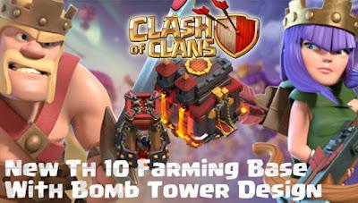 Base Farming TH 10 COC Update Bomb Tower Terbaru 2017