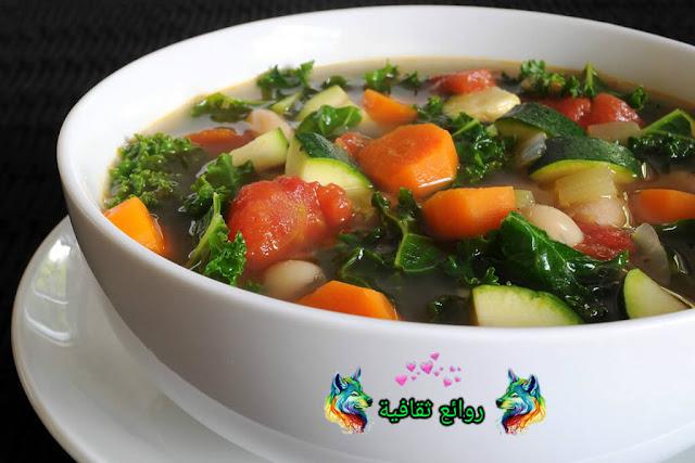 وصفة حساء بالقمرون والخضر
