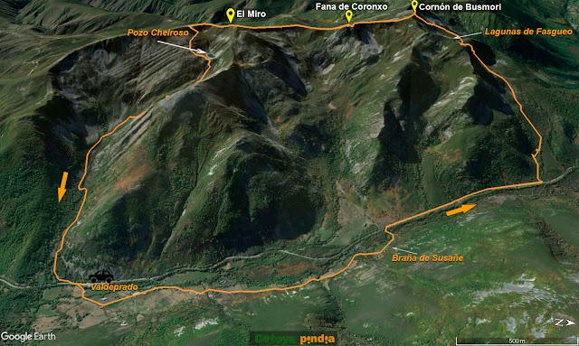 Map 3D de la ruta señalizada al Cornón de Busmori y El Miro pasando por las Lagunas de Fasgueo y el Pozo Cheiroso.
