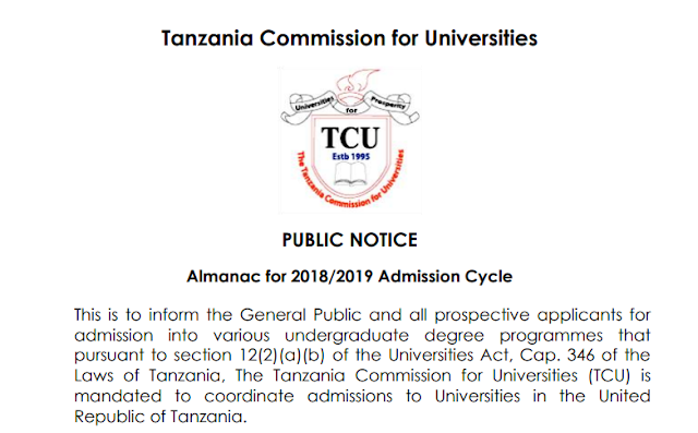 TCU ANNOUNCED ALMANAC FOR ADMISSION CYCLE OF 2018/2019.