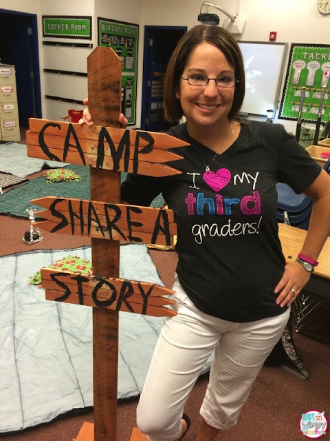 Camp decorations are relatively simple to add to the classroom–here, Not So Wimpy Teacher made a classic wooden post for the storytelling area of the classroom