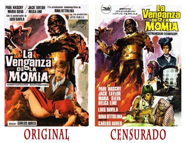 Siete ejemplos de censura franquista en pósters de cine de terror