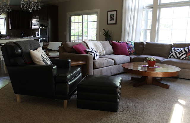 vintage leather chair, living room, sectional