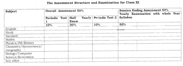Assessment Structure and Examination for Class 11th