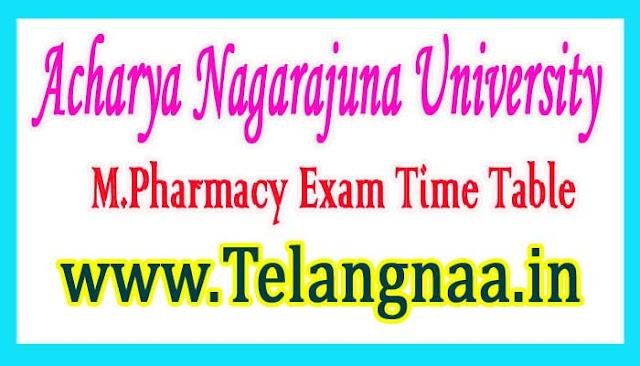ANU M.Pharmacy 1st Sem Regular Exam New Time Table 2018