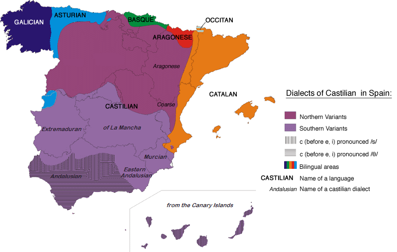Languages of Spain map