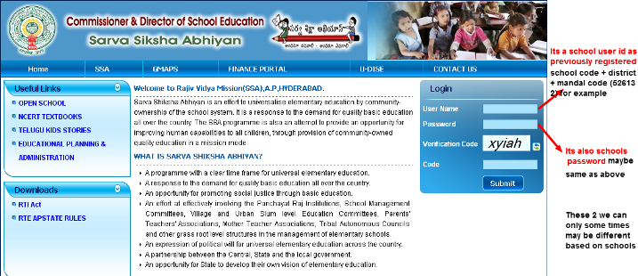 Rajiv Vidya Mission Child info Login